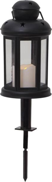 """LED Laterne """"Serene"""" - Kunststoff schwarz - gelbe LED - Timer H:25cm D:10cm"""