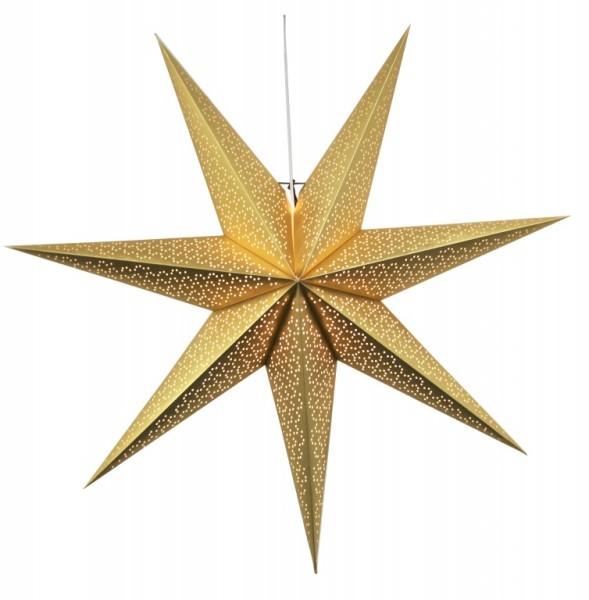 """Papierstern """"Dot"""" - hängend - 7-zackig - Ø 100cm - E14 Fassung - inkl. Kabel - gold"""