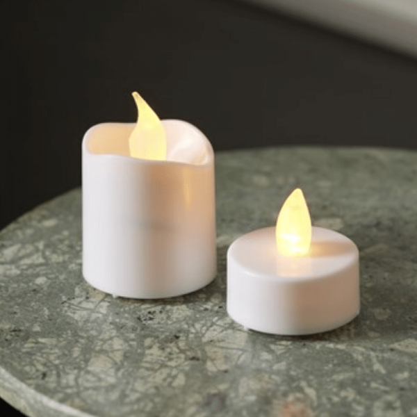 "LED Telicht & Kerzen Set ""Packy"" - flackernde LED - 6x Mini-LED Kerzen + 10x LED Teelichter"