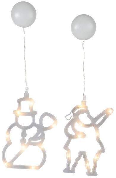 LED-Fensterdeko mit Saugnapf - Schnee- & Weihnachtsmann - 2er Set - je 8 warmweiße LED - Batterie