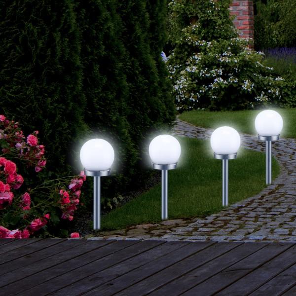 LED Solar Kugellampe - 2 kaltweiße LED - H: 37cm D: 10cm - inkl. Erdspieß
