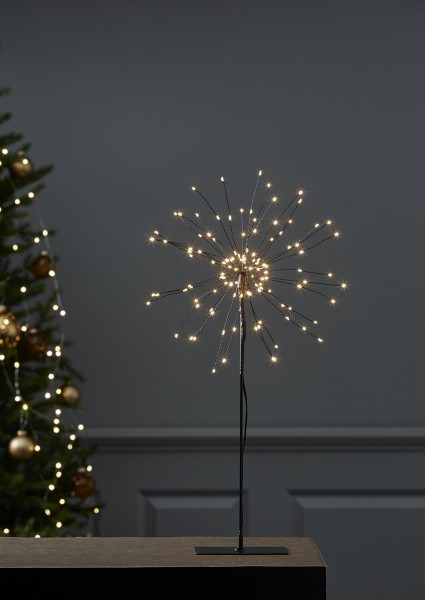 """3D-LED-Standstern """"Firework"""" -120 warmweise LED - schwarz - D-26cm - Material: Metall"""