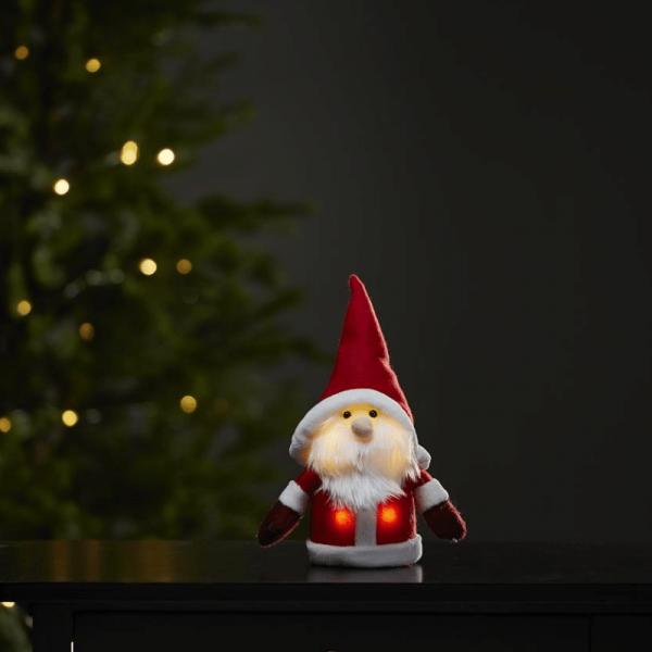 LED Stoff-Figur Weihnachtsmann - rote Mütze & Schal - 4 warmweiße LED - H: 24cm - Batteriebetrieb