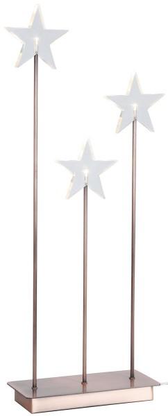 "LED-Standleuchte mit Stern ""Karla"" - 3 warmweiße LEDs - H: 59cm, L: 26cm - transparent/kupfer"