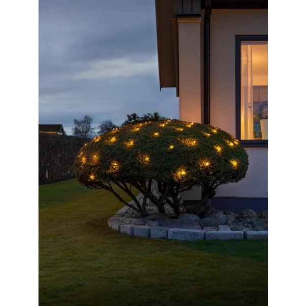 LED Lichternetz - gefrostet - 120 bernsteinfarbene LED - 1,50 x 2.50m - Außentrafo - schwarzes Kabel
