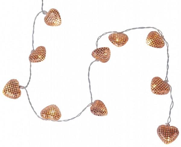 LED-Lichterkette mit Herzen- Heart Line Indoor - Batteriebetrieb - Timer - 0,90m - 10x Warmweiß - Bronze