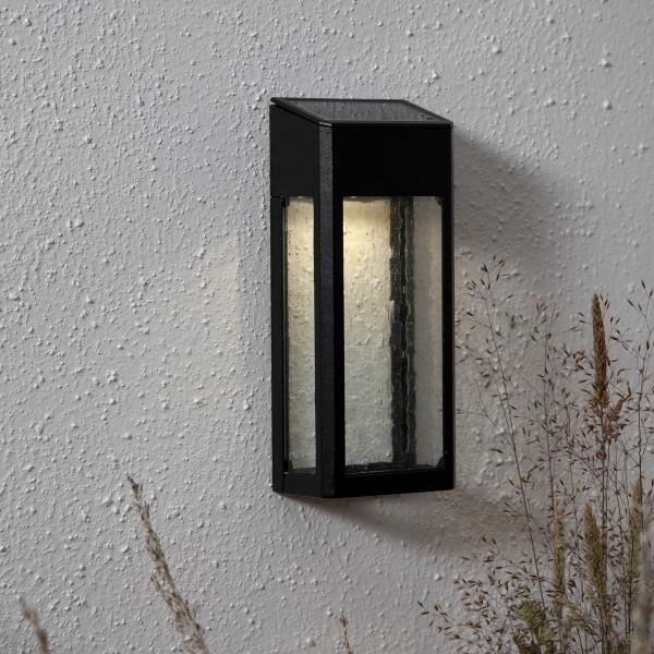 LED Solar Wandleuchte WALLY- warmweiße LED - H: 20cm - Dämmerungssensor - schwarz