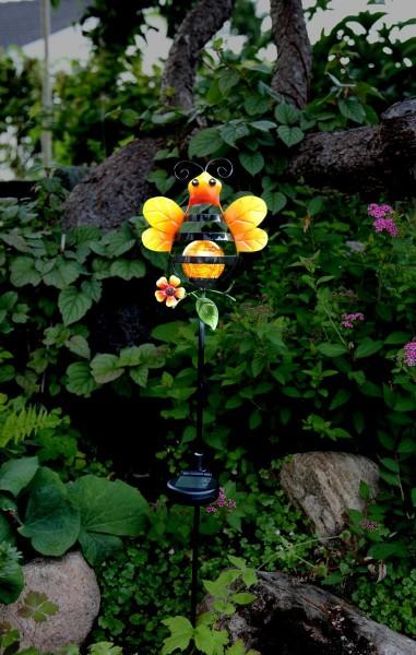 """LED-Solarstab """"Honey""""- gelb - amber LED in Glaskugel - H: 85cm - D: 17cm - Dämmerungssensor"""