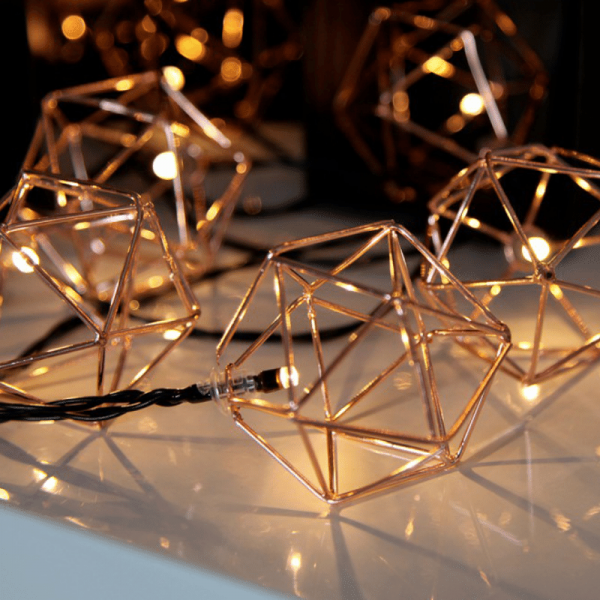 "LED-Lichterkette ""Edge"" - 10 warmweiße LED - 2,25m - schwarzes Kabel - Trafo - kupfer"
