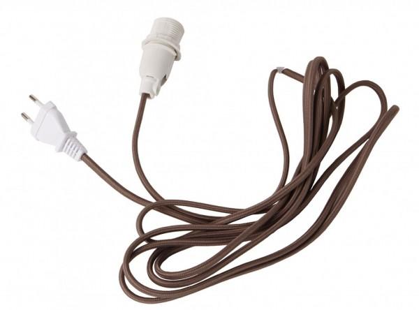 Lampenhalterung für Leuchtsterne - E14 Fassung - textilummanteltes Kabel - 3,50m - braunes Kabel