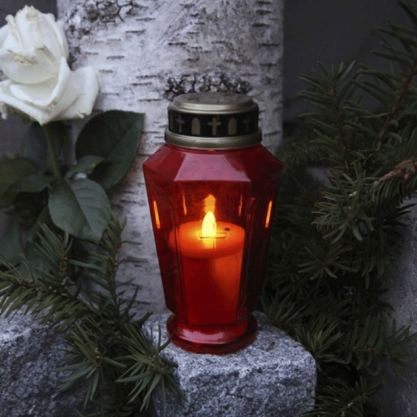 """LED Novenkerze """"Serene"""" - Grabkerze - flackernde warmweiße LED - H: 15,5cm - rot/gold - 10er Set"""