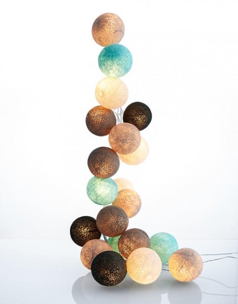 good moods* NATURTREU - Ball-Lichterkette mit 35 Stoffkugeln - 35 warmweiße LEDs - Geschenkkarton