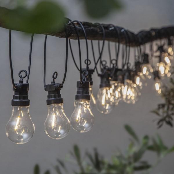 "LED Lichterkette ""Circus Filament"" - 20 Birnen - warmweiße Filament LED - 8,55m - Trafo - outdoor"