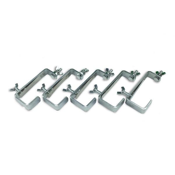 Theaterhaken 50kg Set CC-50 silber (5 Stück) - Montagehaken mit Schutzlippe - bis 50kg | DELTATRUSS