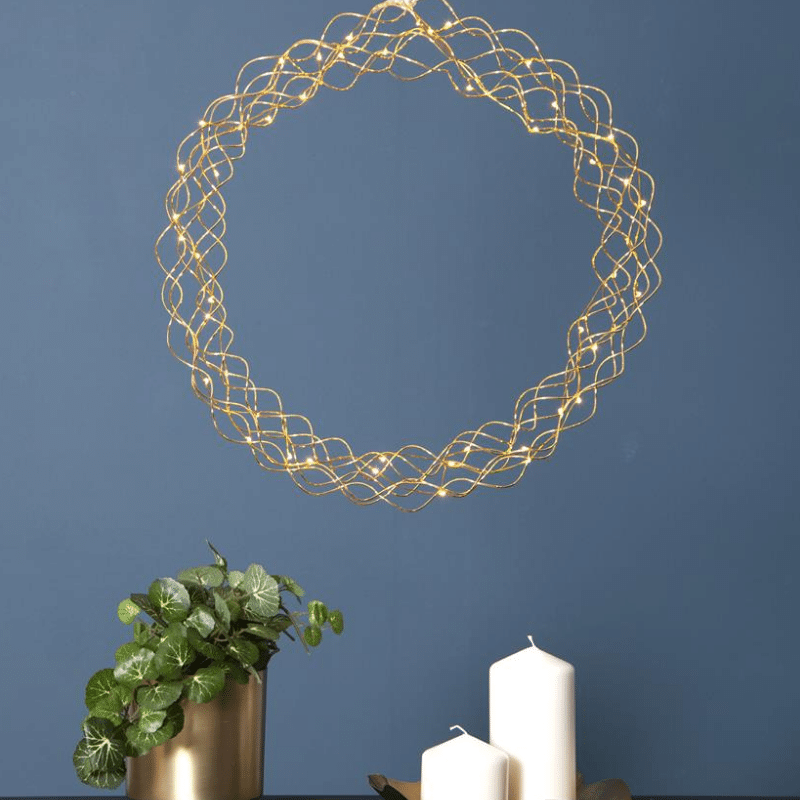 LED Kranz Curly - 50 warmweisse LED - D: 45cm - Material: Metall - gold
