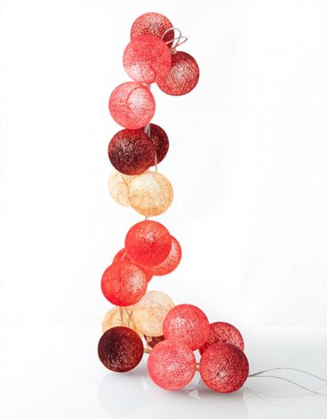 good moods* BEERENKOMPOTT - Ball-Lichterkette mit 35 Stoffkugeln - 35 warmweiße LEDs