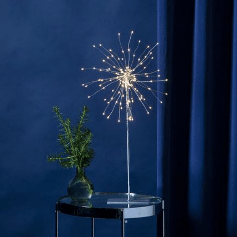3D-LED-Standstern Firework - 120 warmweisse LED - silber - Material: Metall - H: 50 cm- D: 26 cm