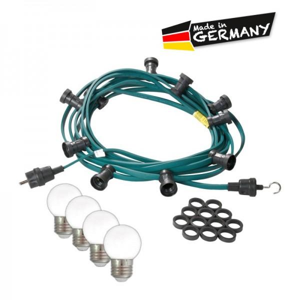 Illu-/Partylichterkette 50m | Außenlichterkette | Made in Germany | 50 kaltweißen LED-Kugellampen