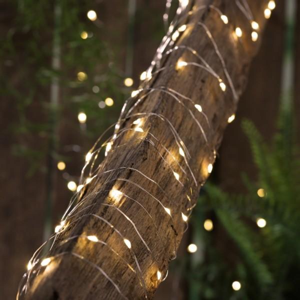 "LED Solar Lichterkette ""Dew Drop"" - 200 warmweiße LED - silberner Draht - L: 20m - Dämmerungssensor"