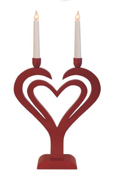 "LED-Kerzenleuchter ""Duo Herz"" - 2 Arme - warmweiße LEDs - H: 54,5cm, L: 30cm - Schalter - Rot"