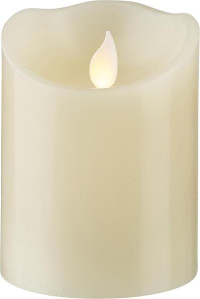 LED-Kerze | Echtwachs | Twinkle | mechanisch bewegte Flamme | Timer | Creme | →7.5cm | ↑10cm