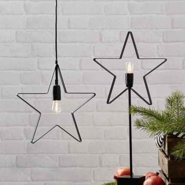"""LED Hängestern/Dekoleuchte """"Orbit""""- 5-zackig - E14 Fassung - D: 33cm - inkl. Leuchtmittel - schwarz"""