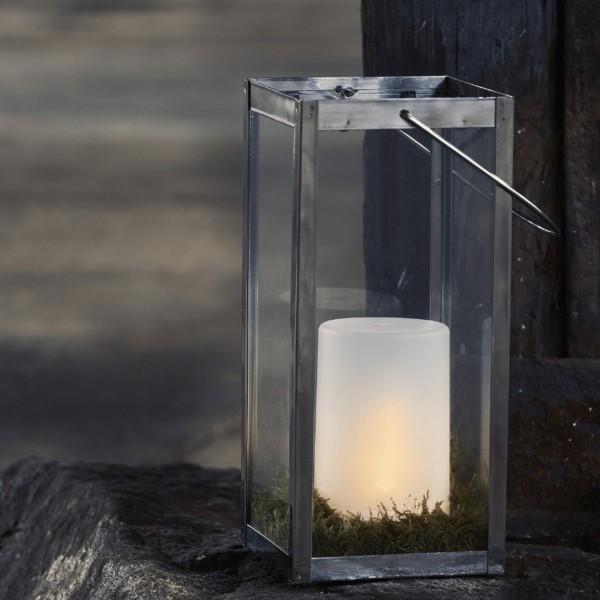 LED Windlicht FLAMME - simuliert brennende Flamme - H: 14,5cm, D: 9cm - Timer - gefrostet - outdoor