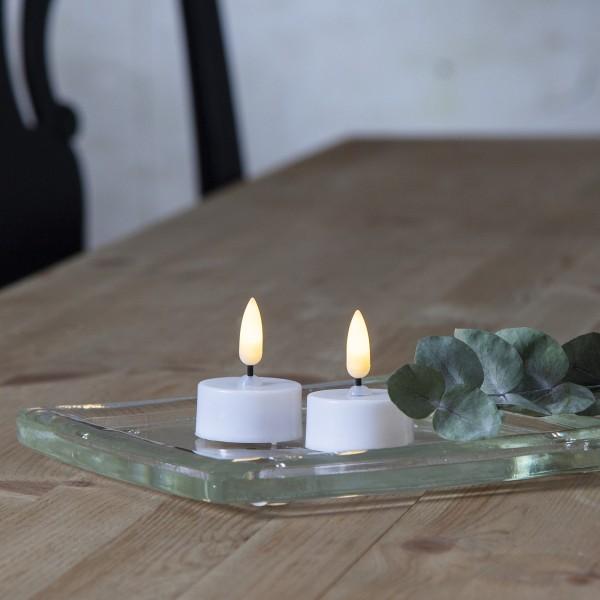 "LED Teelicht ""Flamme"" - warmweiße Flamme - Batteriebetrieb - Timer - D: 3,8cm - weiß - 2er Set"