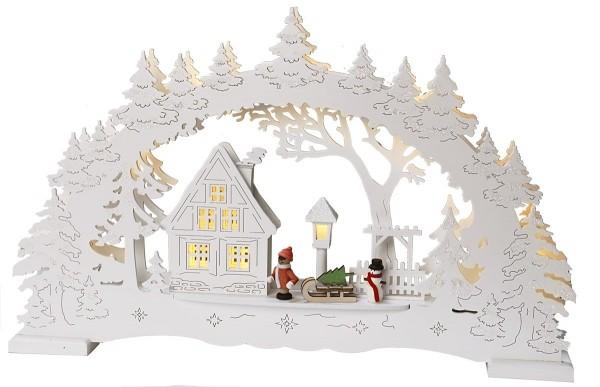 "LED-Fensterleuchter ""Ulm"" 10 warm white LED, Material: Holz Farbe: weiß,  Trafo oder Batterie ca. 27 cm x 43 cm Vierfarb-Karton"
