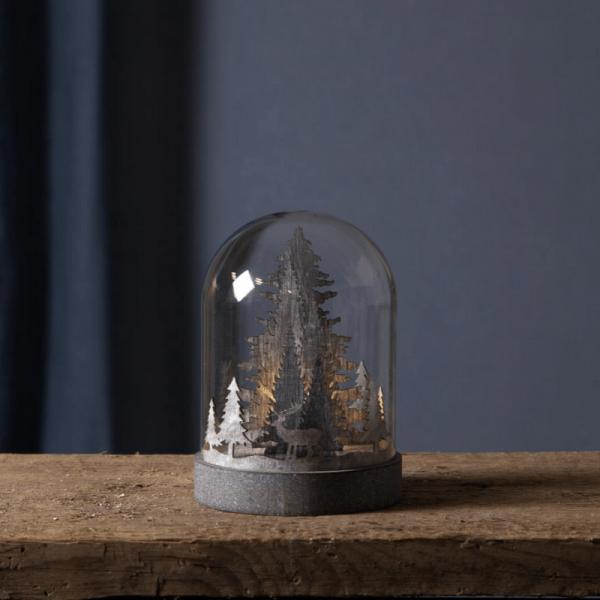 "LED Holzdeko im Glas ""Wintertraum"" - 1 warmweiße LED - Timer - Batteriebetrieb - H: 17,5cm - braun"