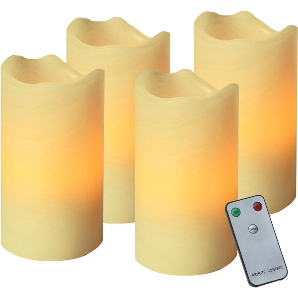 LED-Kerze   Echtwachs   Advent   flackernde LED   Fernbedienung   4er Set   Creme