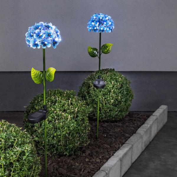 """LED Solarstab """"Hortensie"""" - blau - 27 kaltweiße LED - H: 77cm, D: 16cm - Dämmerungssensor"""