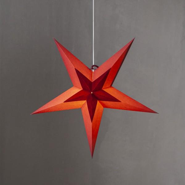 Papierstern Diva - hängend - 5-zackig - D: 60cm - Samtstern - rot