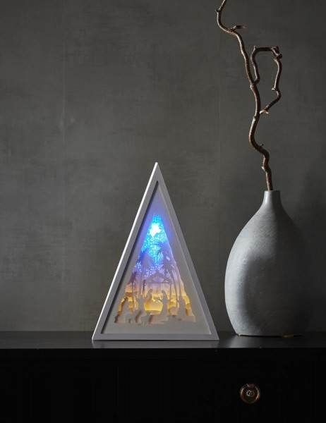 "LED-Bild ""Scenery"" - Krippe - weiss - Material: Kunststoff - 8 LED - Batterie - Timer"