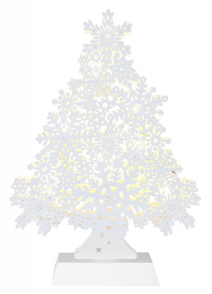 """LED-Fensterleuchter """"Snowflake Tree"""" 8 warmwhite LED, Material: Holz Farbe: weiss, ca. 32 cm x 23 cm Batterie, Timer, Vierfarb-Karton"""