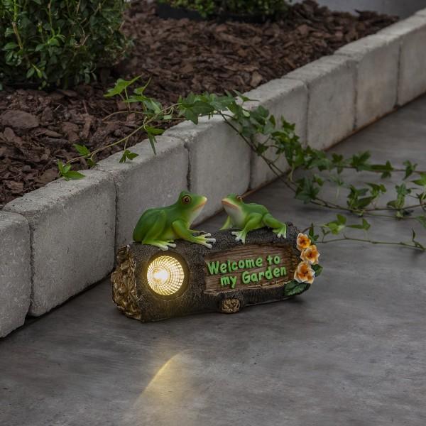 LED Solar Figur Froggy - 2 Frösche auf Baumstumpf - warmweiße LED - Dämmerungssensor