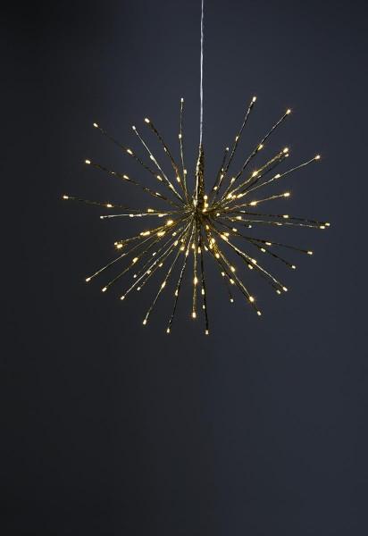 """3D-LED-Hängestern """"Firework"""" 60cm - golden mit 120 warmweißen LEDs - Programme - 5m Zuleitung"""