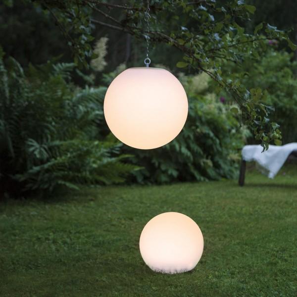 LED Solar Gartenkugel GLOBY - zum Aufhängen - H: 29cm, D: 30cm - 6 warmweiße LED - Lichtsensor
