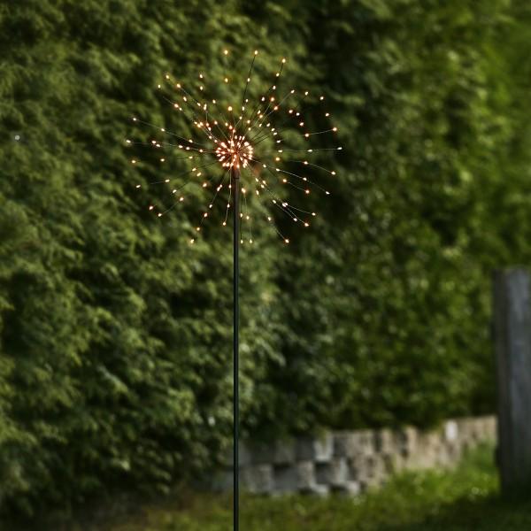 LED Dekostab FEUERWERK - H: 110cm - 160 kleine warmweiße LED - inkl. Trafo - outdoor - schwarz