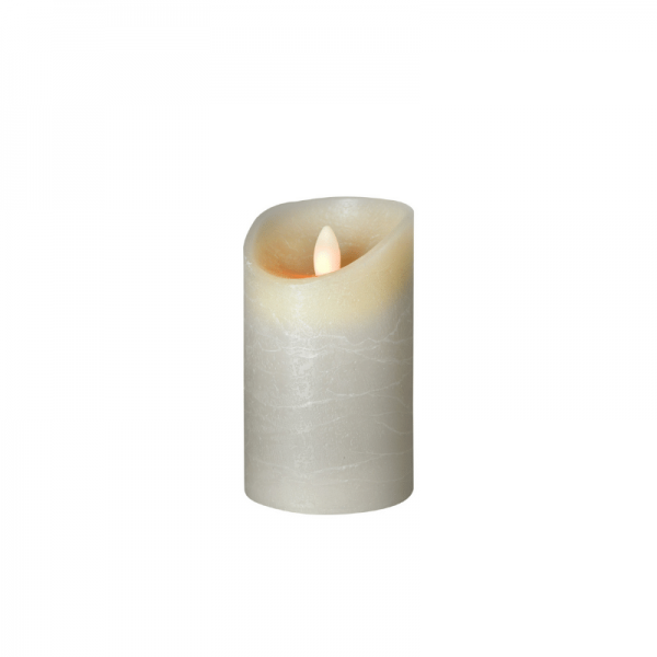 SOMPEX LED Wachskerze SHINE | grau | gefrostet | D: 7,5cm H: 12,5cm | fernbedienbar | Timer