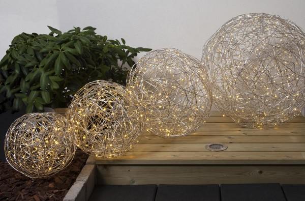 LED 3D Designkugel 30cm - aus Silberdraht mit 50 warmweißen LEDs  - indoor&outdoor
