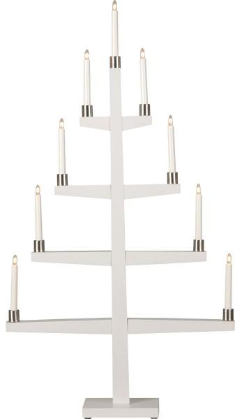 """Kerzenleuchter """"Tall"""" - 9 Arme - warmweiße Glühlampen - H: 110cm, L: 61cm - Schalter - Weiß/Silber"""