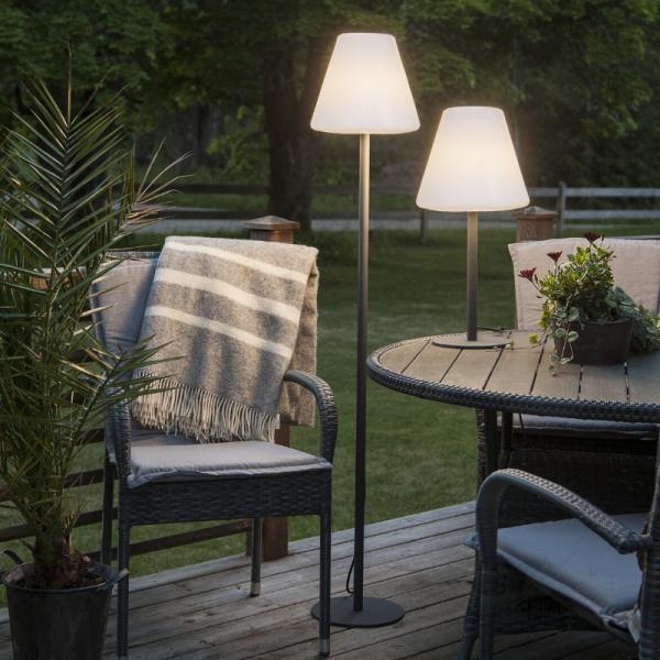 Garten Beistelllampe/Stehlampe - H: 150cm - weißer 28cm Lampenschirm - E27 Fassung - Outdoor