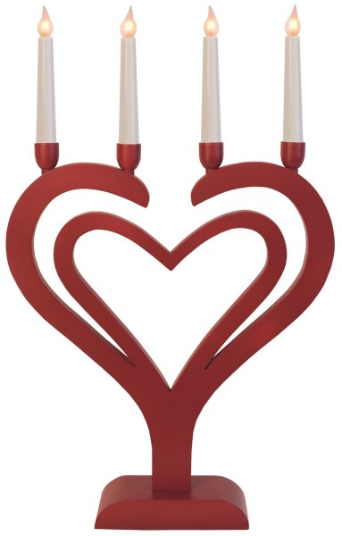 "LED-Kerzenleuchter ""Duo Herz"" - 4 Arme - warmweiße LEDs - H: 65cm, L: 40cm  - Schalter - Rot"