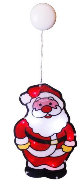 """LED-Fensterdeko mit Saugnapf """"Santa Klaus"""" - Kunststoff - 26,5 x 17,5cm - batteriebetrieben"""