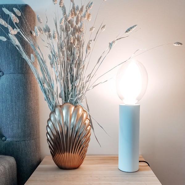 Lampenhalterung TUB - Tischleuchte - E27 - H: 25cm - stehend - Kabel mit Schalter - Holz - weiß