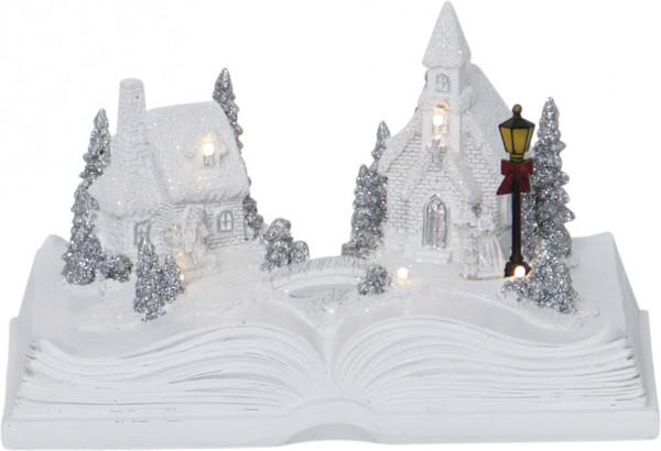 """LED-Weihnachtszene """"Bookville"""" - 6 warmweiße LED - Farbe: weiss, im Buch - ↑13cm"""