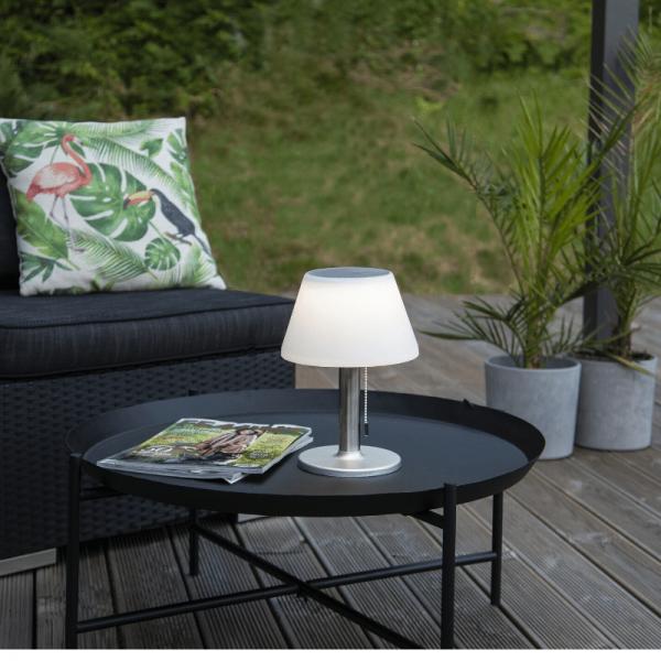 Tischleuchte mit Solarpanel und Batterie - D: 20cm x H: 28cm - warmweiss - outdoor