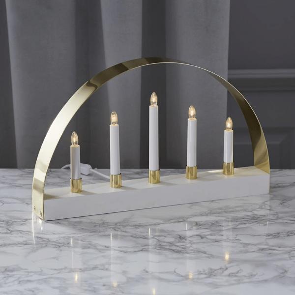 """Lichterbogen """"Noble"""" - 5 warmweiße Glühlampen - L: 47cm, H: 28cm - Holz - Schalter - weiß/gold"""