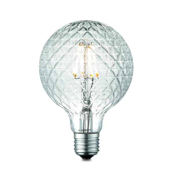 LED Kugelleuchtmittel G95 klar - 3000K - 400lm - E27 - 4W - dimmbar